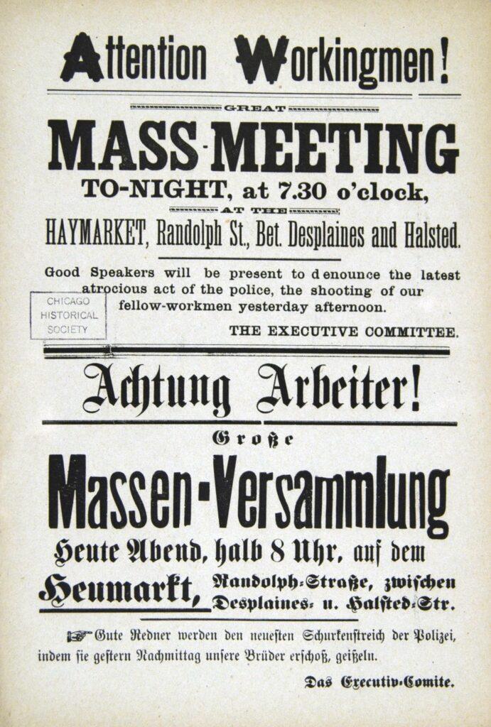 """Attention Workingmen! Great Mass Meeting Tonight at 7:30 O'clock at the Haymarket"""
