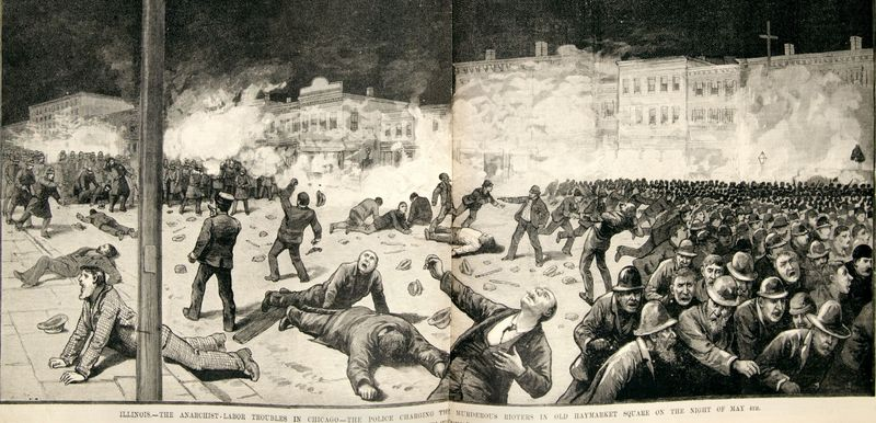 <p>Newspaper illustration depicting the violent skirmish between police and protestors in Chicago's Haymarket.</p>