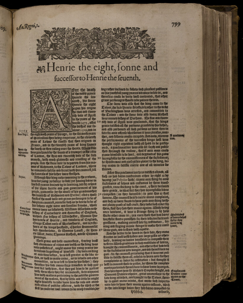 """Raphael Holinshed, """"Henrie the Eight"""" in The Third Volume of Chronicles : Beginning at Duke William the Norman, commonlie called the Conqueror.... (1587)"""