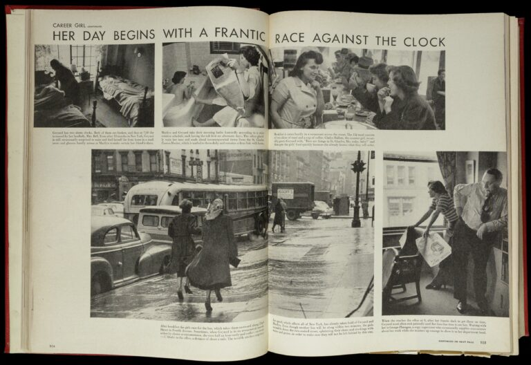 "Two-page spread entitled ""Her Day Begins with a Frantic Race Against the Clock."" Photos of Filling at a lunch counter, in a office with a man, walking on the sidewalk, in her bedroom, and reading in the bathroom (clockwise from top right)."
