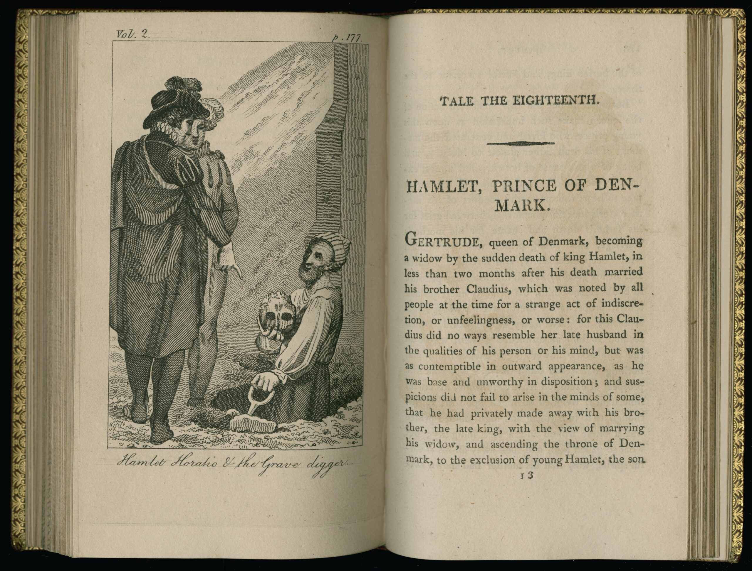 Two-page spread of opening Hamlet chapter. On the right is a page of text, on the left an etching of Hamlet and Horatio talking to the grave digger, who is holding Yorick's skull.