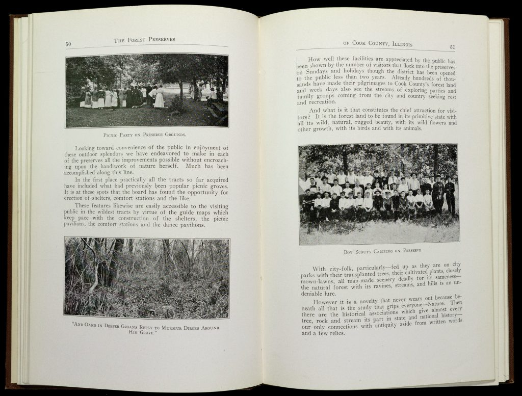 Two-page spread from the Forest Preserves of Cook County, including pictures of Boy Scouts camping, people having a picnic, and a copse of trees.