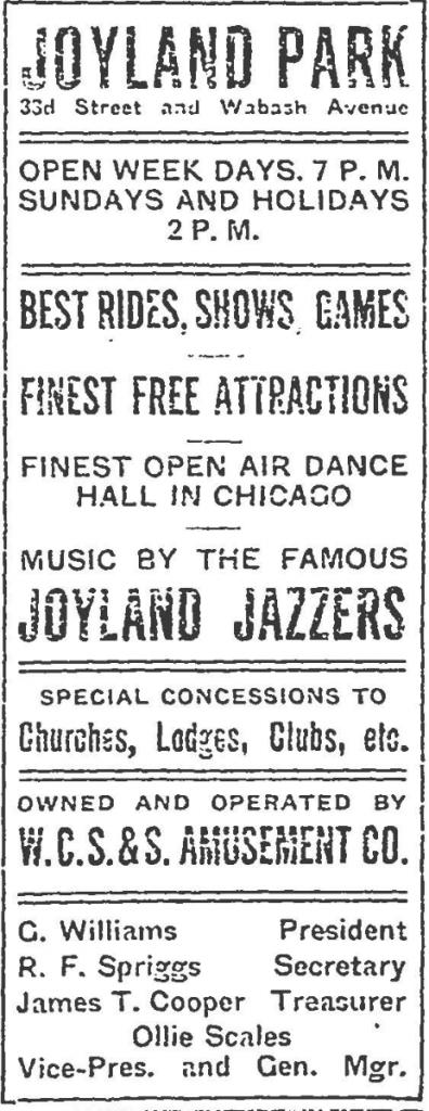 Newspaper advertisement for Joyland Park