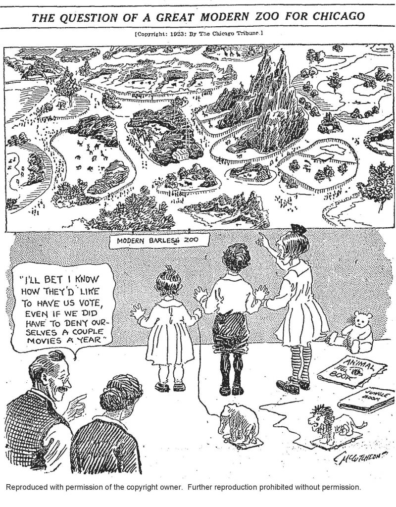 "Line drawing of three children looking at a poster of large zoo with natural-style enclosures. A man and a woman stand at the edge of the frame. The man is pointing at the children and saying, ""I'll bet I know how they'd like us to vote, even if we did have to deny ourselves a couple of movies a year."""