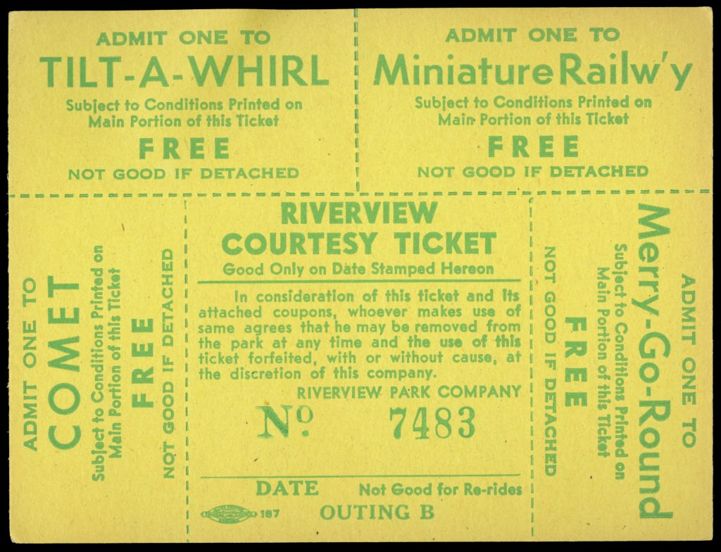 Printed ticket offering access to four rides: Comet, Tilt-A-Whirl, Miniatrue Railway, and Merry-Go-Round