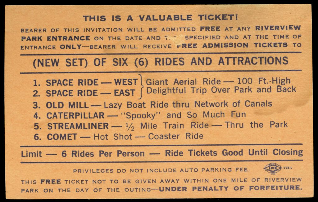 Ticket describing rides available on Phillip Murry Day