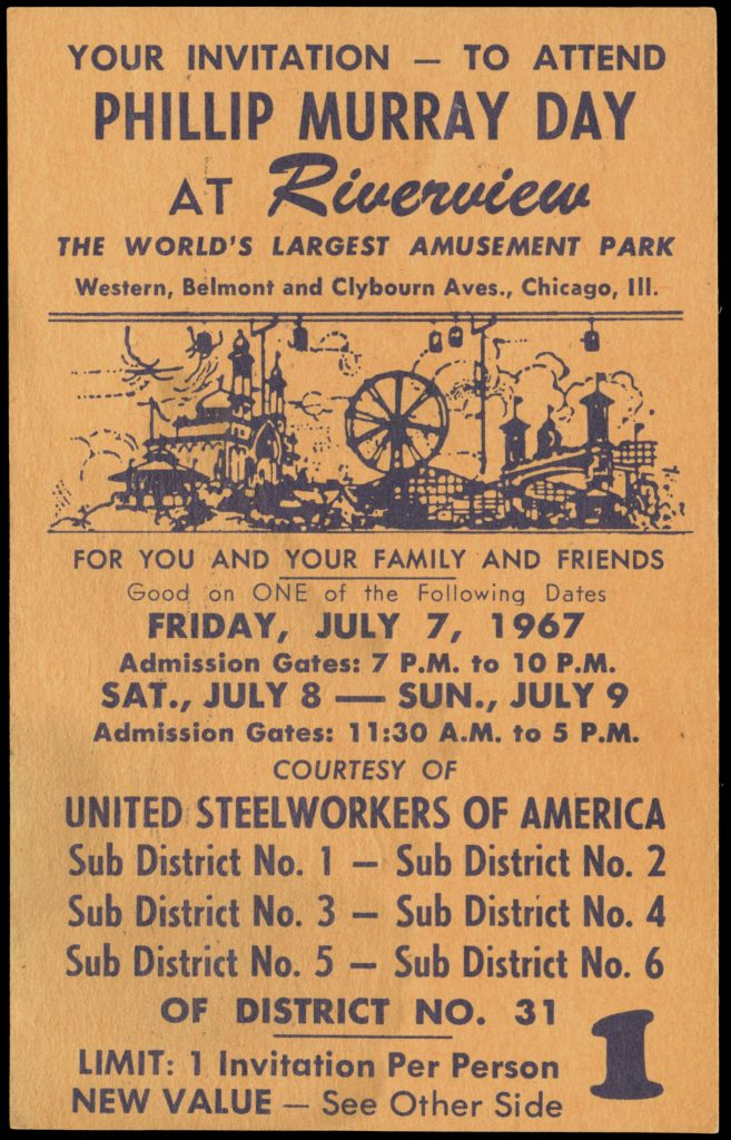 Ticket advertising Phillip Murray Day at Riverview Park