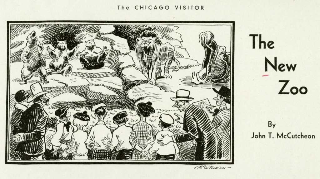 Line drawing of people lookign at bears, a lion, and a hippopotamus in natural-style enclosures.