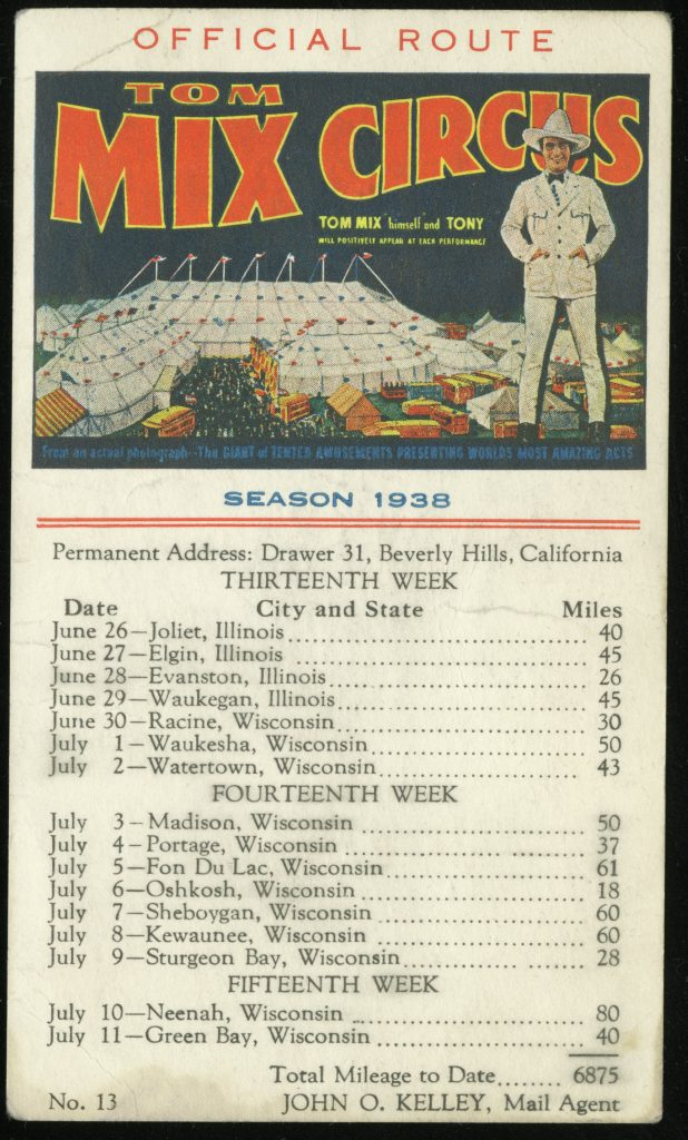 Card advertising Tom Mix Circus. Color drawing of circus tent at the top, with lists of dates and cities below.