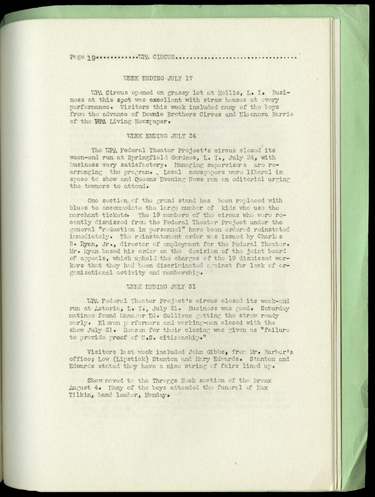 Page of text from the WPA Route Book