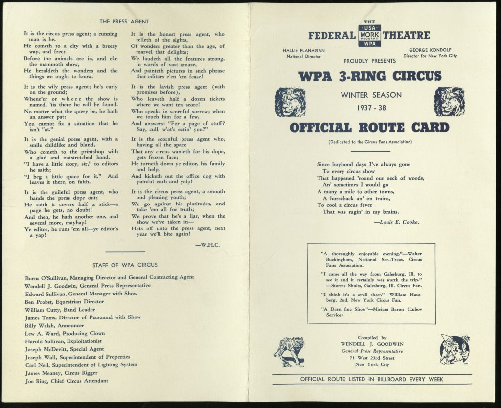 Exterior of a four-page pamphlet advertising the WPA's circus
