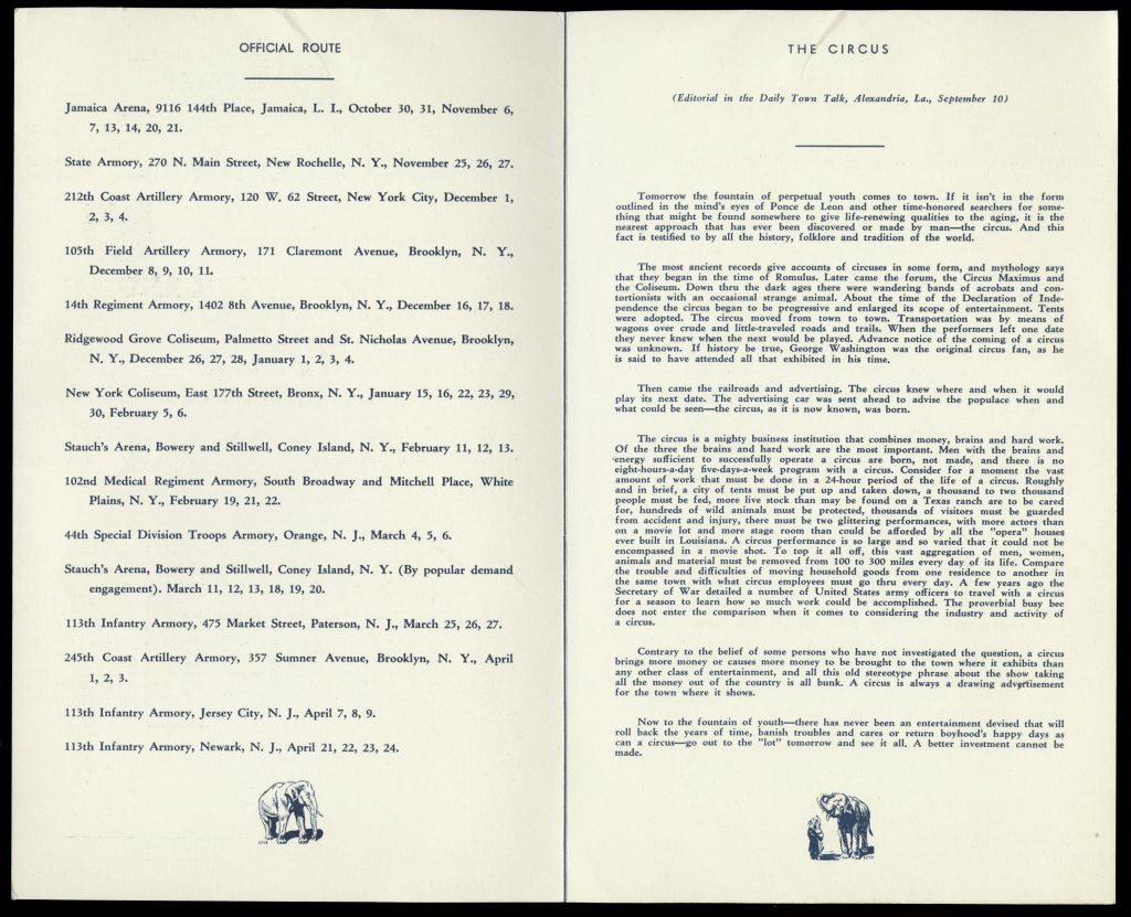 Interior of a four-page pamphlet describing the route for the 1937-38 season of the WPA circus.