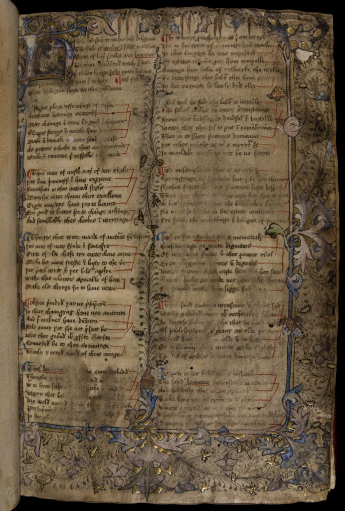 Page of illuminated manuscript with two columns of text surrounded by images of leaves and flowers in black, purple, blue, and gold. Sections are faded and hard to read.
