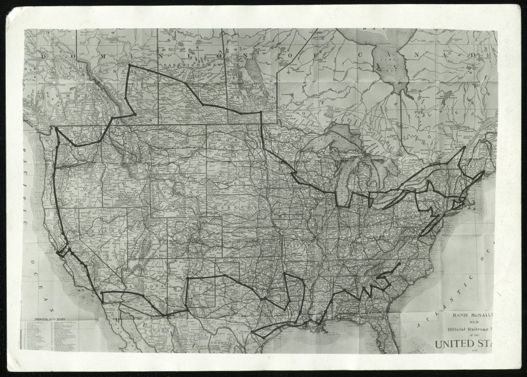 Black-and-white map of the continental United States showing the route of the RBBB Circus in black.