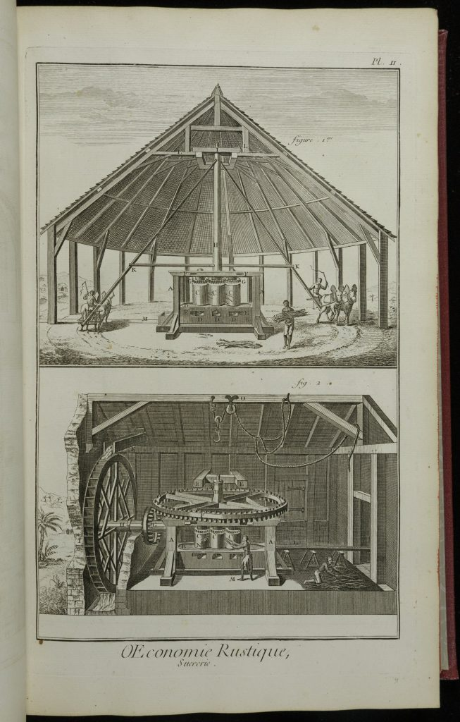 Two etchings of a machine used in the processing of sugar. The above image shows the entire machine, covered by a hut. Men drive teams of animals (donkeys?) in a circle around the machine. The animals turn a long poll in the middle of the machine, which then turns a variety of barrels and gears in the middle of the hut. Slaves put sugar cane betweem the barrels of the machine to squeeze out the unprocessed sugar within the plant. The lower image shows the same machine, but powered by a water wheel on the right-hand side.