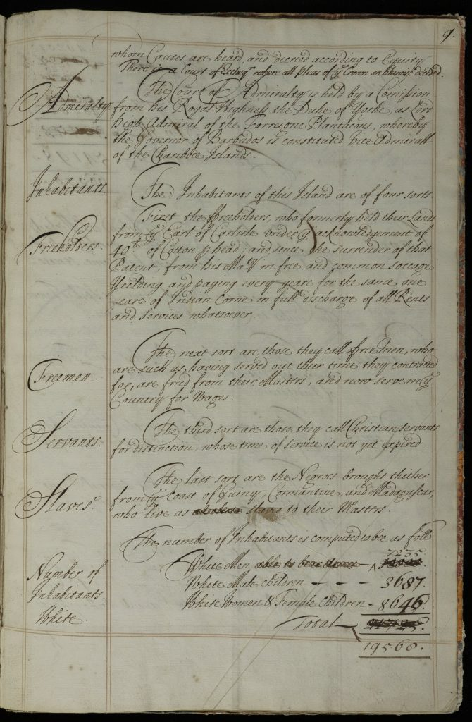 Handwritten manuscript list of occupants of Barbados. This page defines the inhabitants of the island as freeholders, freemen, servants, and slaves, totalling 19,568 people.