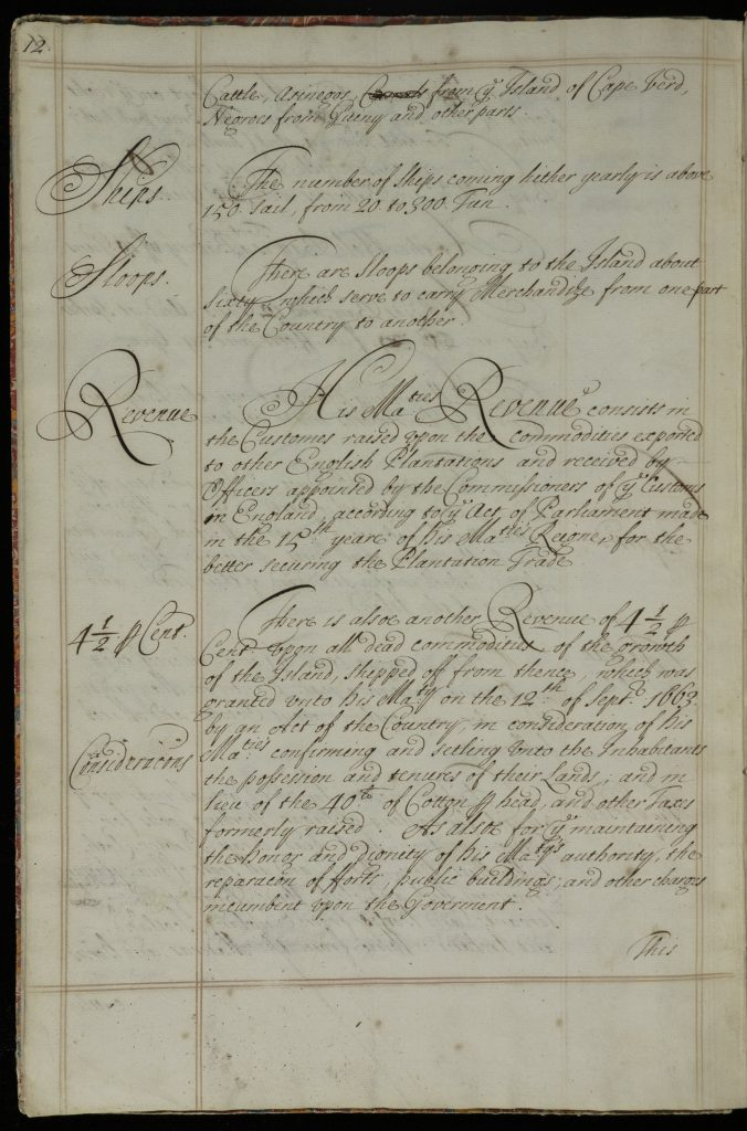 Manuscript text listing various features of Barbados. On this page: numbers of ships and sloops, information about revenue.