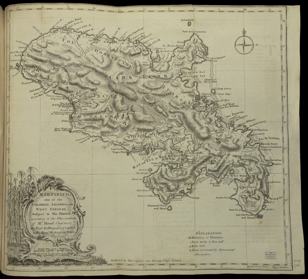 Hand-drawn map of the entire island of Martinico.