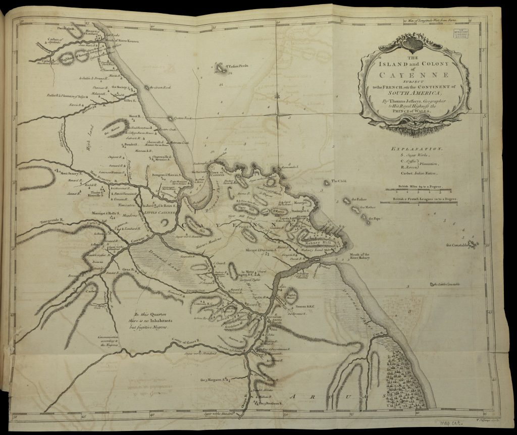 Hand-drawn map of the coast and rivers of Cayenne