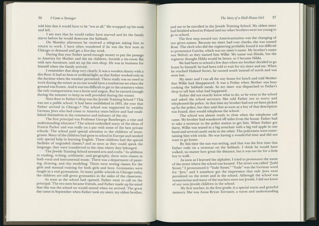 Hilda SattI Polacheck, I Came a Stranger: The Story of a Hull-House Girl, 36-37 (1989)