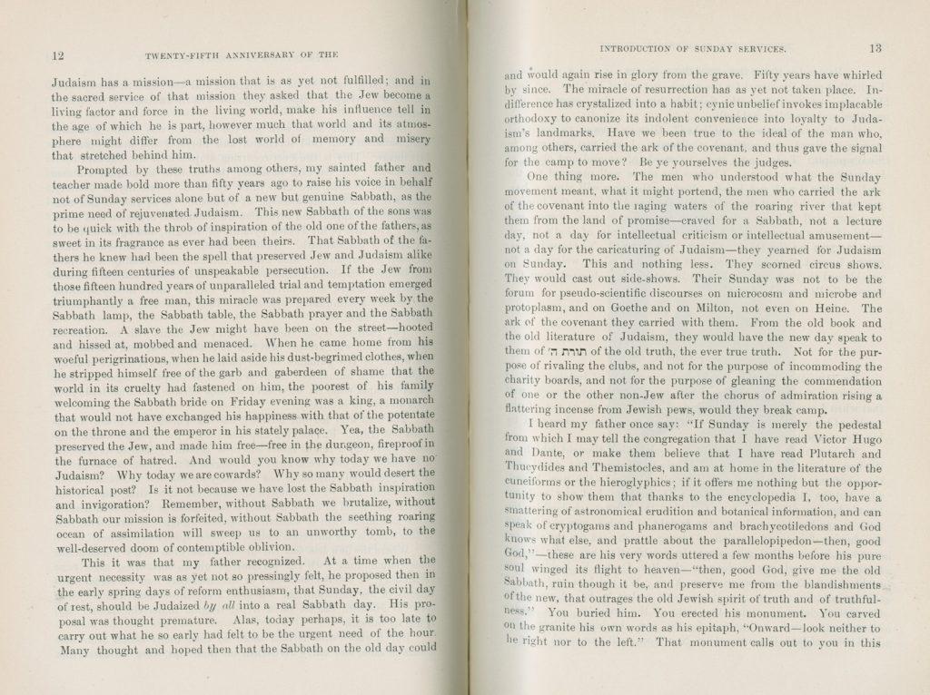 Address by Dr. E. G. Hirsch, Minister, 12-13 (1899)